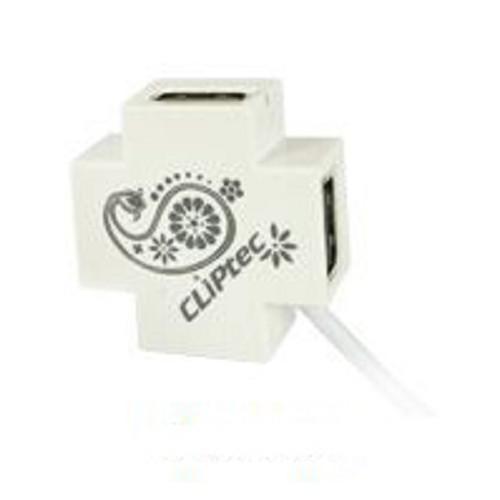 CLIPTEC Mini-XCross USB 2.0 4 Port Hub [RZH209] - White - Cable / Connector USB